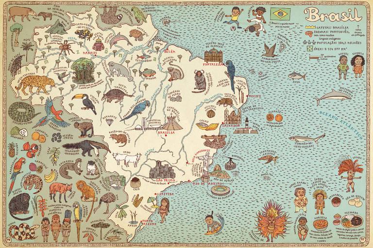 Livro de viagem para crianças: mapa Brasil