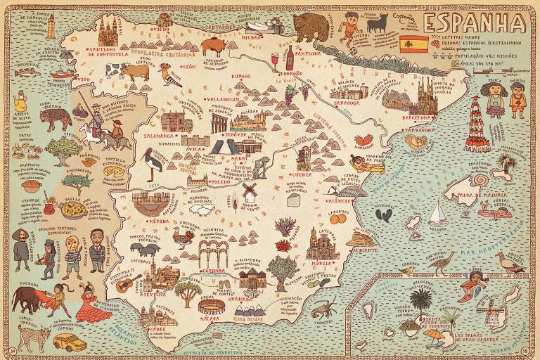 Livro de viagem para crianças: mapa Espanha